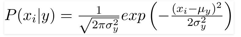 فرمول بیز ساده گوسی