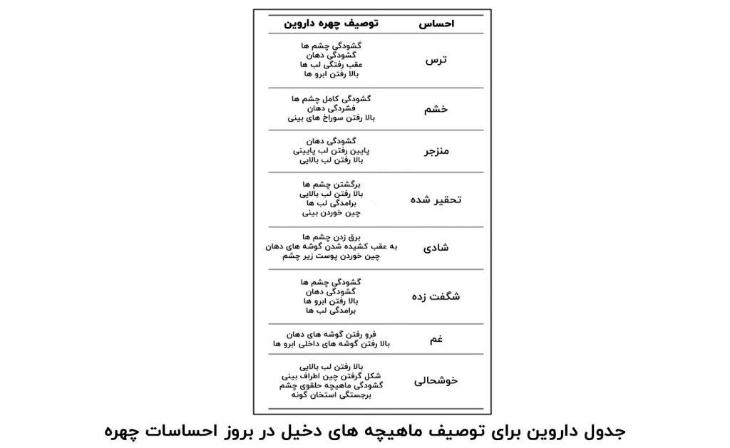 جدول ماهیچه های چهره دخیل در احساسات داروین