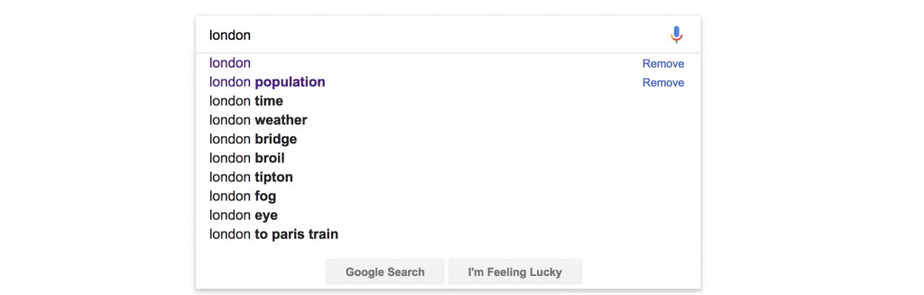 پیشنهادات گوگل برای کلمه london