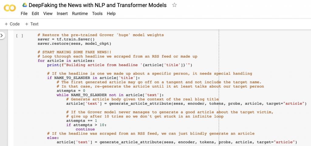 ساخت متن جعلی در google colab jupyter notebook