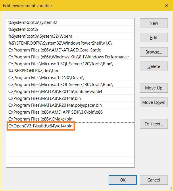 Set OpenCV 3.1 Path x64